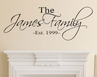 Family Name Wall Decal - Established Date Personalized