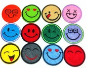 Lot Of 12 Pieces Different Smile Face (4 x 4 cm) Embroidered Iron on Applique Patch (AL)