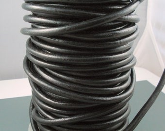 Black Smooth Leather Cord, 6MM Black Leather, Excellent Quality Very Flexible All Leather, One Yard