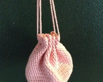 Spring bag (pink), bags and purses, drawstring bag, handcrafted crochet, summer bag