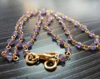 Amethyst Gemstone Beaded Chain, Gemstone Necklace