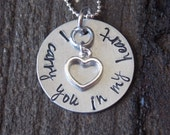 Hand Stamped Jewelry-Remembrance Jewelry-Memorial Jewelry-Child/Infant Loss Necklace-I carry you in my heart necklace