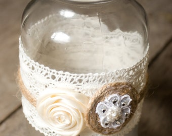 Wedding Mason Jar Wrapped with Lace and Twine with Roses