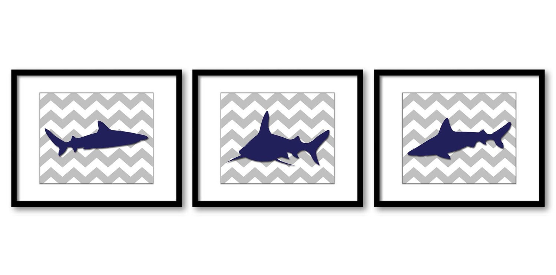 Shark Animals Art Prints Grey Chevron Set of 3 Blue Sharks Boys Art Nursery Art Nursery Print Child