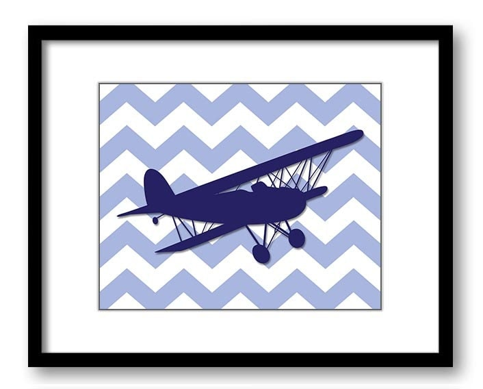 Blue Biplane Airplane Chevron Boys Art Print Nursery Art Nursery Print Child Baby Art Print Boys Kid
