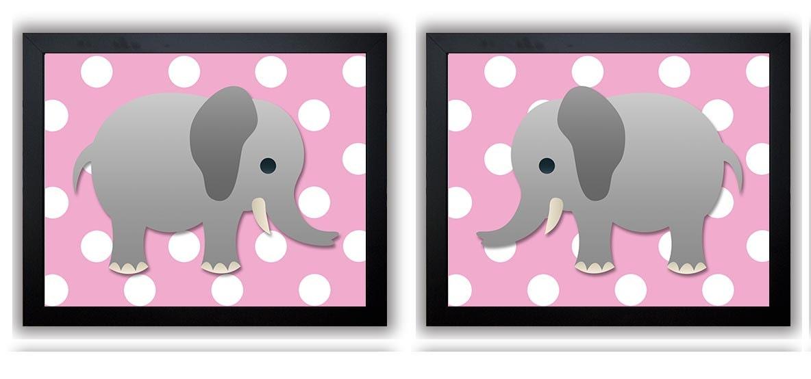 Pink Polka Dots Grey Elephant Nursery Art Nursery Print Set of 2 Elephants Child Art Prints Girl Kid