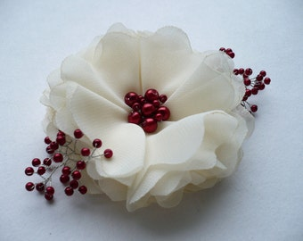Ivory-red  flower hair clip/comb Bridal hair accessory Bridesmaids hair accessories