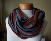 Rustic Orange and Grey Jersey Knit Infinity Scarf