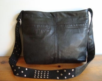 SALE///black recycled leather bag/ crossbody handbag