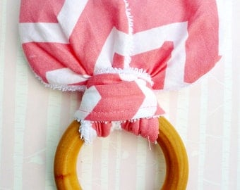 SALE!!! Bunny Ear Teething Ring For Baby/Fabric and Wooden Teething Ring with Crinkle Material Inside/Sensory Toy