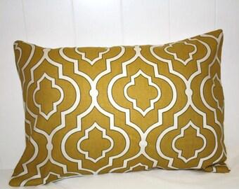 Decorative lumbar pillow 12x16 Gold Maize with Cream Accents