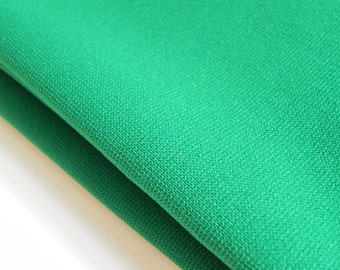 """POLYESTER FABRIC, DOUBLE Knit Shamrock Green Grass Vintage 1 yards 9"""" by 58"""" Sewing Garment Medium Weight Material 1960s 1970s Craft Golf"""