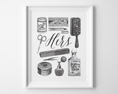 Wife Gift for Her, Vintage Bathroom Decor, Black and White Bathroom Wall Art, Her Vintage Toiletries Print, His and Hers Wedding Shower Gift