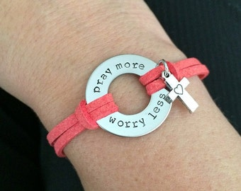 Washer bracelet, faux suede, adjustable bracelet, pray more, worry less, cross charm