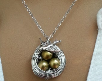 Fresh Water Olive Pearls Sperrow Bird Nest Necklace