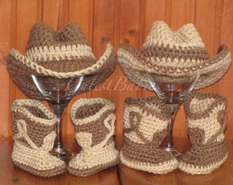 Twin Baby Crochet Cowboy Costume Hat & Boots Photo Prop.