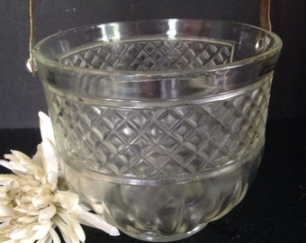 vintage cut clear glass ice bucket barware diamond pattern hammered silver metal handle