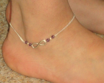 Infinity anklet, Silver infinity amethyst ankle bracelet Infinity jewelry Amethyst ankle bracelet Ankle bracelet UK Amethyst anklet, Gifts