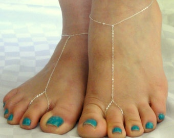 Sterling silver barefoot sandals, Chain barefoot sandals, Sterling silver feet jewellery, Bridal barefoot sandals
