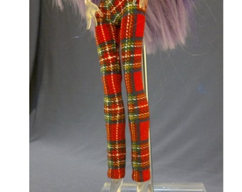 Tight pants/leggings/clothes for Monster high doll - Red Plaid - No: 710