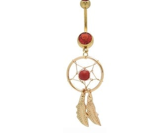 Beautiful Goldtone DREAM CATCHER Red Bead Red Gems Curved Feathers 14 gauge Stainless Steel Navel Piercing Belly Button Ring