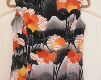 Groovy 1970's Sleeveless Top, Floral Design, M/L