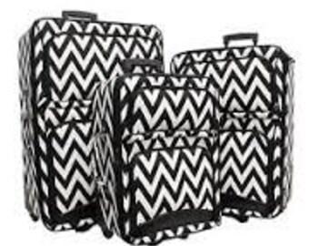 Three piece Luggage Set.  Chevron Print in Black, Pink or Purple