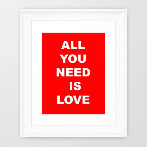 Wall Decor All You Need Is Love : Instant download all you need is love lyrics by designhappi