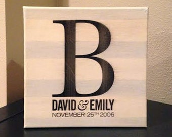 Monogram & Wedding Date Canvas Tile