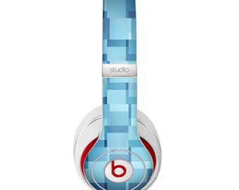 The Abstract Blue Cubed Skin Skin for the Beats by Dre Headphones (All Versions Available)