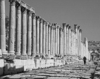 Photo print: Walking around Jerash, Jordan. Monument photography, Roman History photography.