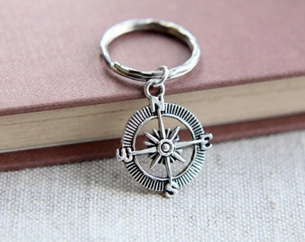 Compass Keychain, Graduation Gift, Gift for Graduation, 2017 Graduate Gift, Anniversary Gift, Lost without you, Gift for him, Gif for her