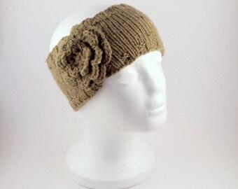 Knitted Flower Headband Army Green  -  Hand Knit Khaki Green Ear Warmer For Her.