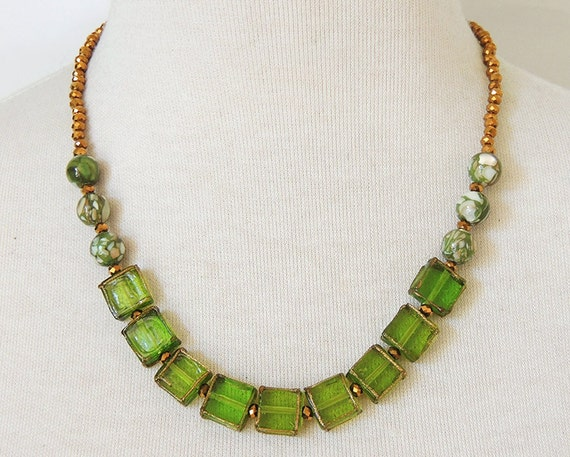 olive gold mosaic necklace olive green strand necklace