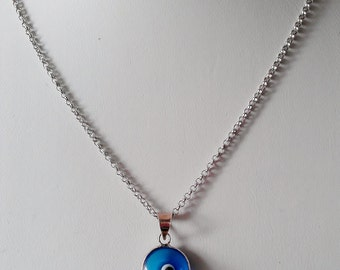 """Sterling Silver .925 Blue Eye Pendant and 20"""" Fine Link Chain, Hand Made  (Sale Price)"""