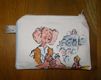 BFG coin purse, Big Friendly Giant zippered purse, Roald Dahl coin purse, The BFG coin purse, kids coin purse, Roald Dahl, The BFG