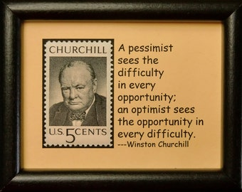 Winston Churchill USA -Framed Postage Stamp Art 0362W