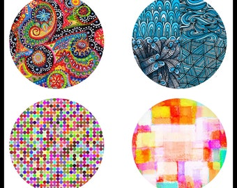 Digital Download Sheets - Digital Collage Sheets - 38mm Collage Sheets - 38mm Cabochons - Abstract Designs - Pendants - DDP364