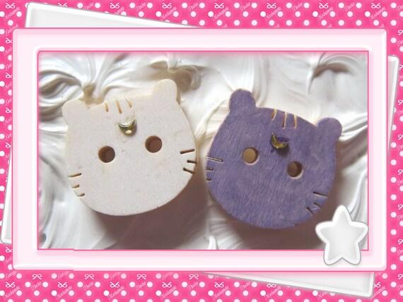 0: )- CABOCHON -( WOODEN Cat Luna & Artemis Sailor Moon