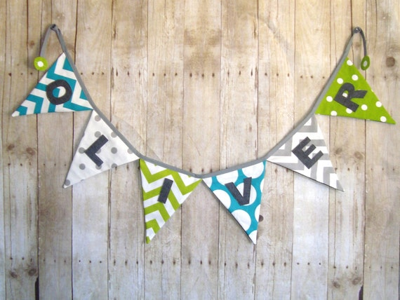 Chevron and polka dots / Name Banner / teal , green and grey / Party banner / word bunting / Baby shower banner