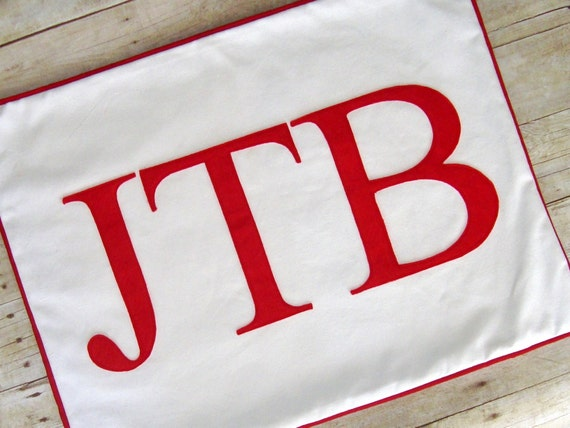 Monogram pillow / cover / standard pillow / 20 x 26 - Personalized pillow - Monogrammed - 3 letters - red letter pillow - customize colors