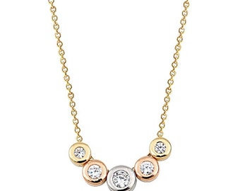5 Stones Multicolored 14k Solid Gold Necklace White Gold Yellow Gold Rose Gold
