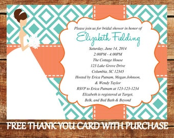 Bridal Shower Invitation - Printable Coral and Turquoise Wedding Shower Invite with FREE Thank You Card