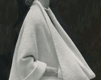 Coat Cape, 1950s Swing Coat, Vintage Knitting Pattern, INSTANT DOWNLOAD PDF