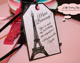 Pink Damask Print Parisian Thank You Favor Tags