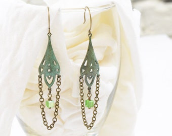 Art Nouveau verdigris patina chain & bead earrings.