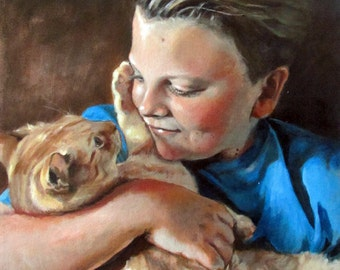 With Their Human - Custom Pet Portrait Memorial Painting