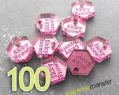 Custom Jewelry Tags - 100 pcs, hexagon shaped, mirrored, choose color, your text, engraved
