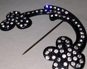 Vintage Art Deco Black Early Plastic And Rhinestone Flash Pin, Dress Pin