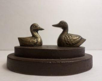 Vintage 2 Brass Ducks On Wood Base